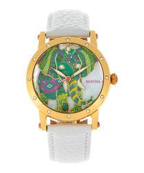 Betsy gold-tone & white leather watch