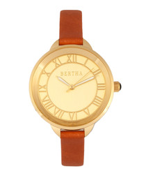 Madison gold-tone & camel leather watch