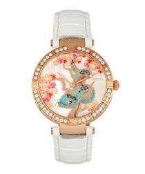 Mia rose gold-tone & white leather watch