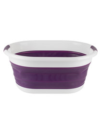 Oval collapsible mauve laundry basket