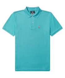 Turquoise pure cotton polo shirt