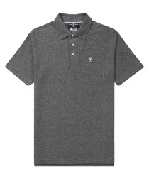 Graphite pure cotton logo polo shirt