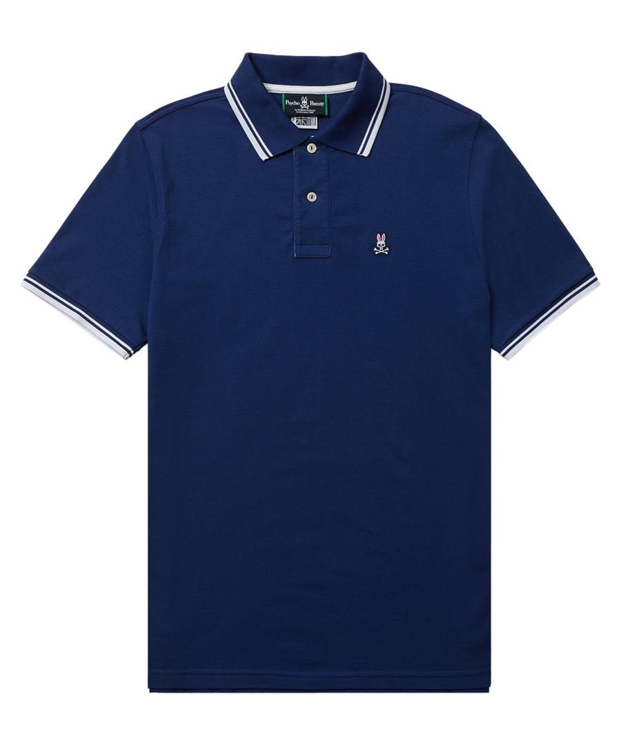 Dark blue cotton blend sport polo shirt Sale - Psycho Bunny