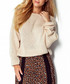 Beige loose fit wide neck jumper Sale - fimfi Sale