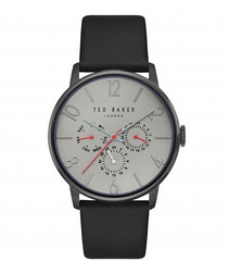 Stainless steel & black leather watch
