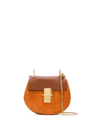 Brown leather & gold-tone crossbody bag