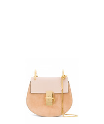 Pink leather & gold-tone crossbody bag