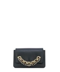 Black leather link detail clutch bag