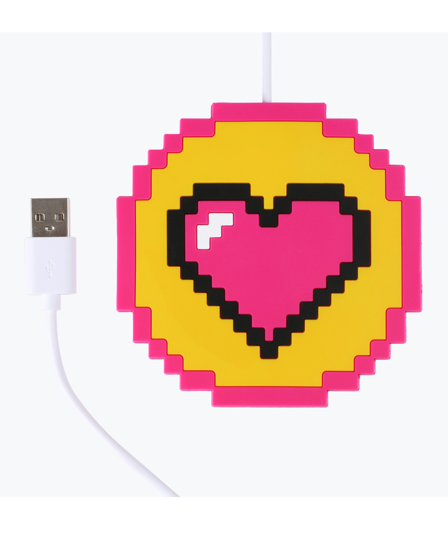 Pixelated heart USB-powered cup warmer Sale - Mustard