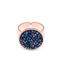 Rose gold-plated & blue crystal ring