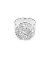 Silver-plated & crystal statement ring