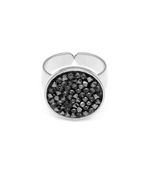 Silver-plated & black crystal ring