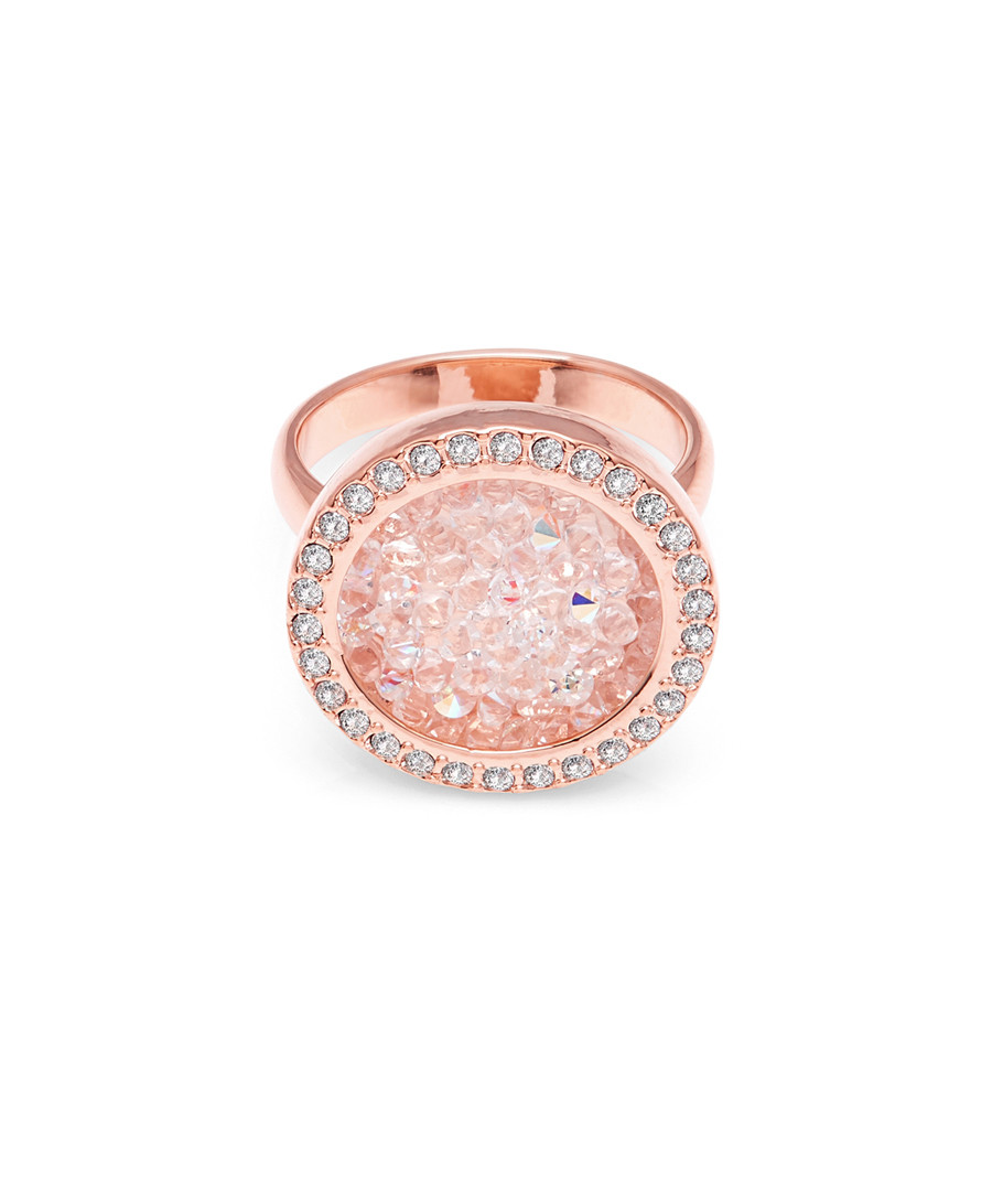 Rose gold-plated & crystal circle ring Sale - Aura
