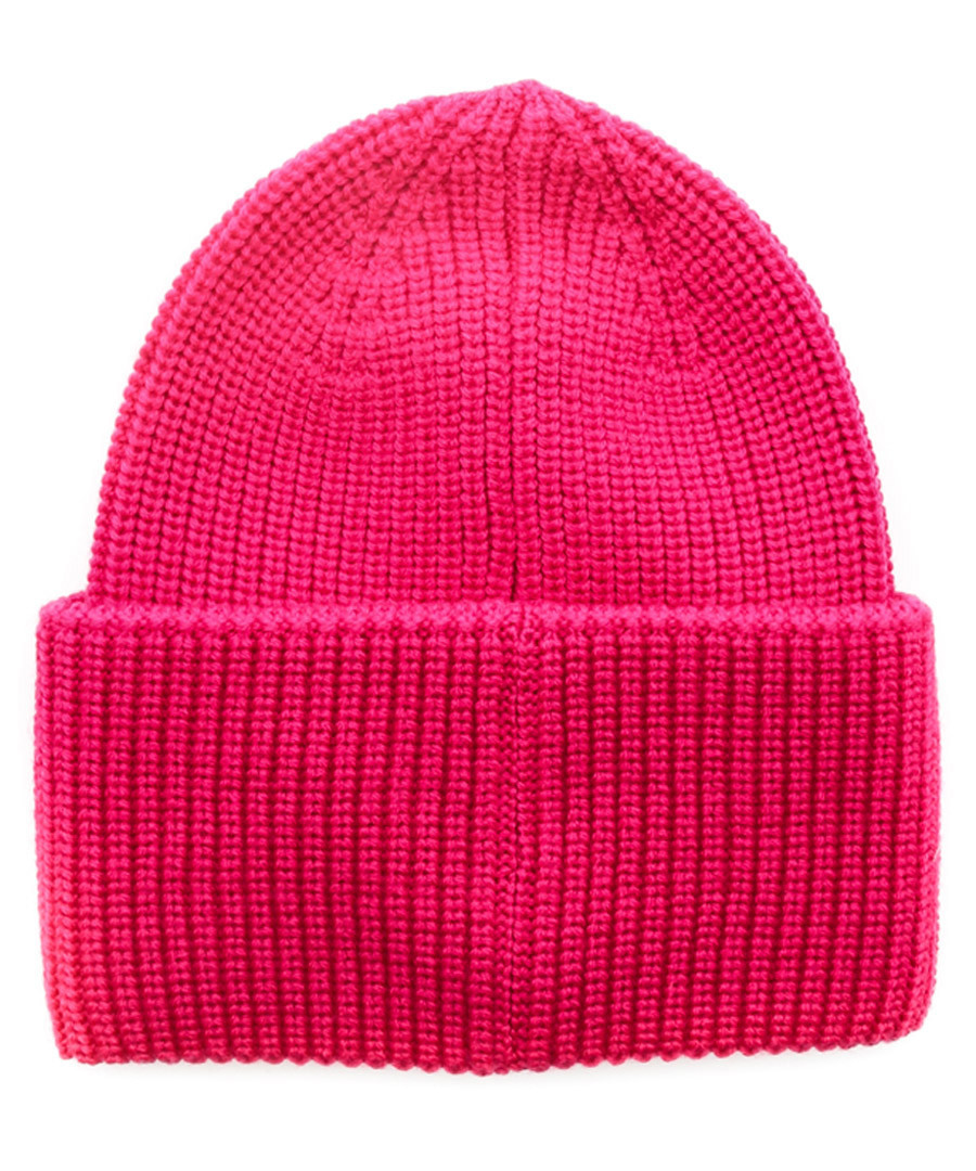 4d825978c08 ... Pink pure wool logo front beanie Sale - moncler