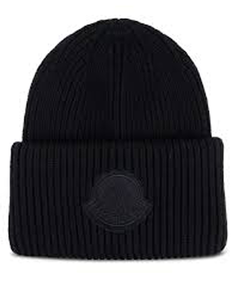 0fed7e2ed88 Black pure wool ribbed knit logo beanie Sale - moncler