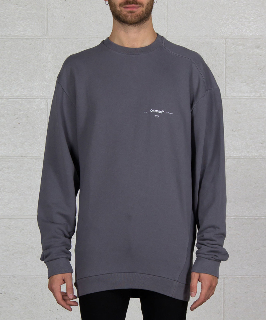 Grey pure cotton branded jumper Sale - off white