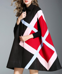 Black & red print wool blend poncho