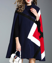 Navy & red print wool blend poncho