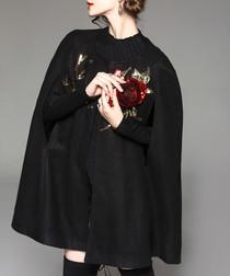 Black & floral print wool blend poncho