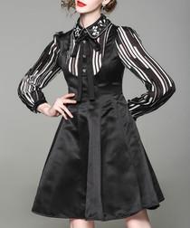 Black tie-neck long sleeve A-line dress