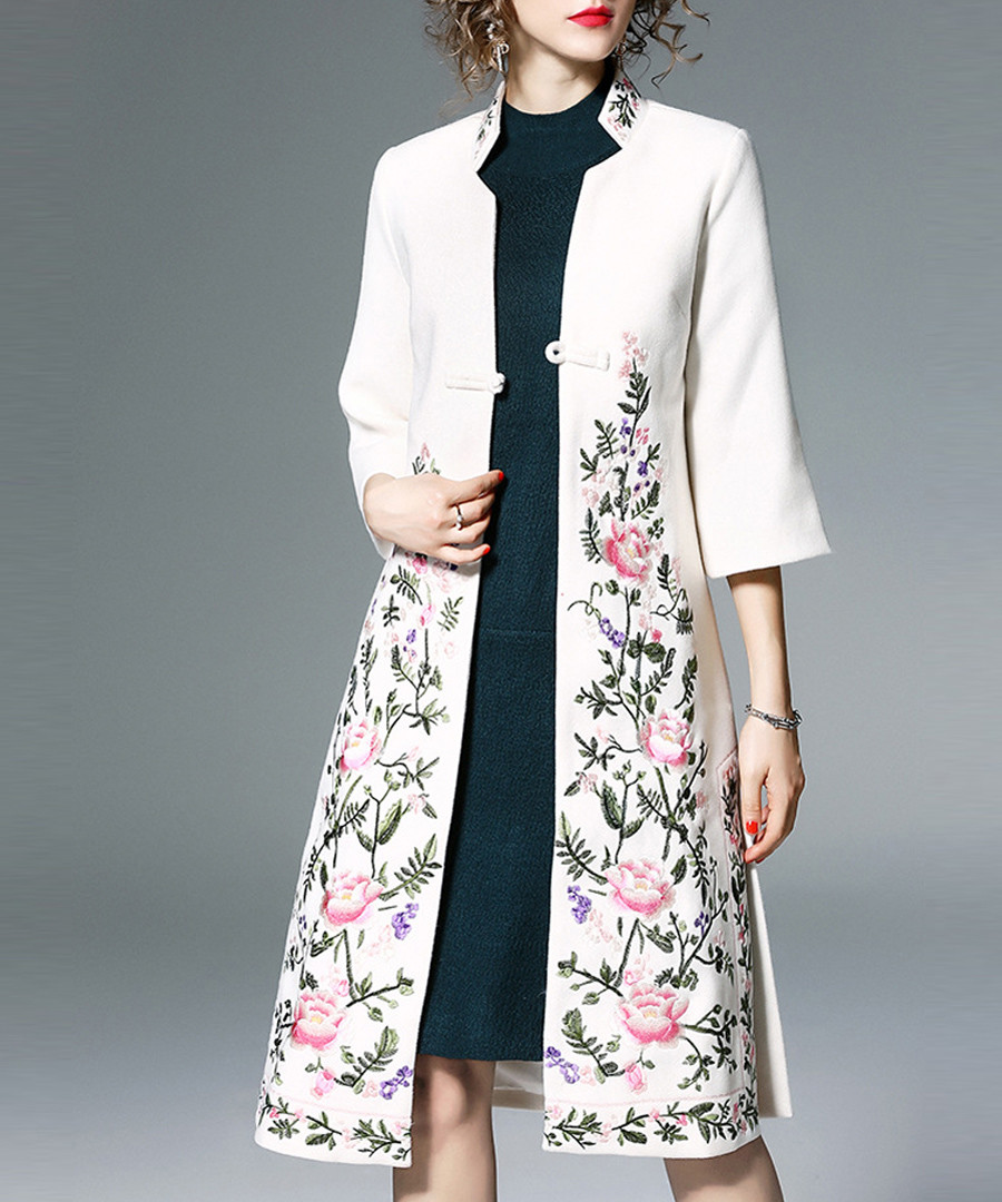 White & pink floral print overcoat Sale - Zeraco