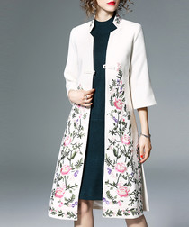 White & pink floral print overcoat