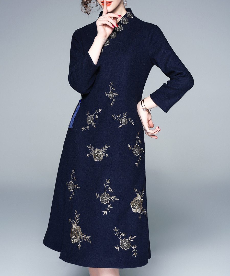 Navy high neck printed A-line midi dress Sale - Zeraco