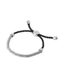 Sterling silver & cord bracelet