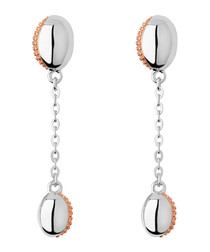 Rose gold-vermeil & silver drop earrings