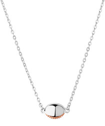 Rose gold vermeil & silver oval necklace