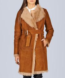 Camel-coloured fur belted overcoat