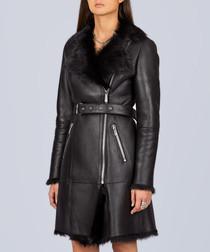 Black toscana belted waist overcoat