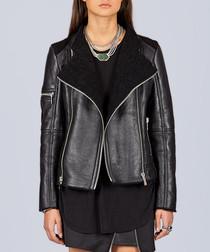 Black leather & fur moto jacket