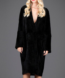 Black suede & fur longline overcoat