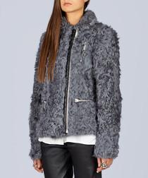 Grey fur zip-up jacket