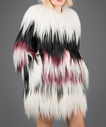 White, red & black shaggy fur coat