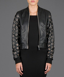 Black leather eyelet detail jacket