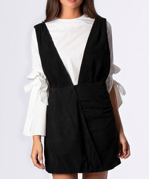 Black suede pinafore-style deep v dress