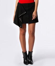 Black suede asymmetric hem eyelet skirt