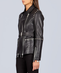 Black leather studded belted jacket