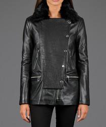 Black leather & fur zip pocket jacket