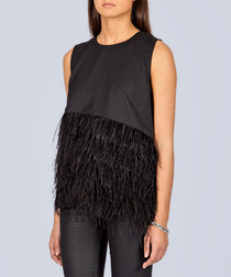 Black wool blend feather-like detail top
