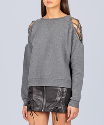 Grey cotton blend cold-shoulder jumper