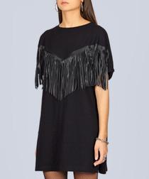 Black pure cotton fringe dress