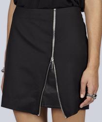 Black wool blend zip detail skirt