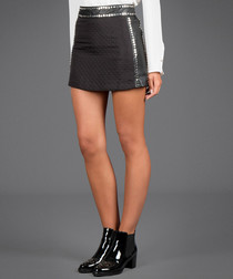 Black metallic detailing mini skirt