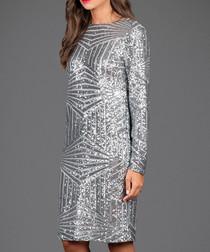 Silver-tone geometric sequin shift dress