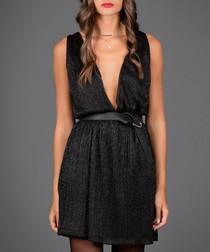 Black plunge neck sleeveless dress