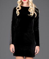 Black velvet side stripe dress