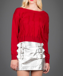 Red merino wool blend wide neck jumper